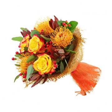 Bouquet de Rosas e Proteas