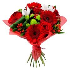 Bouquet de Gerberas e Rosas Vermelhas